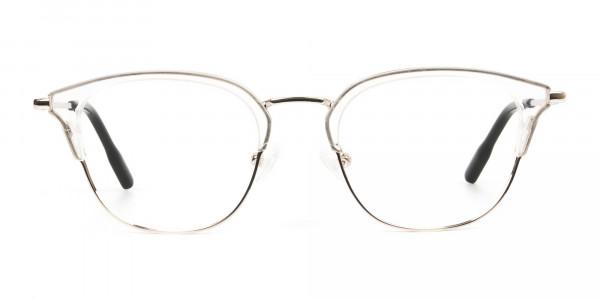 Wayfarer & Browline Crystal Clear & Champagne Gold Eyeglasses - 1