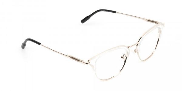Wayfarer & Browline Crystal Clear & Champagne Gold Eyeglasses  - 2