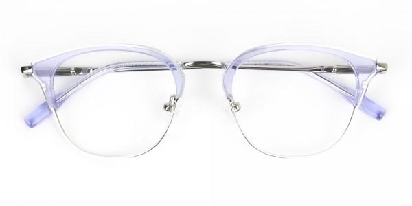 Silver & Crystal Periwinkle Purple Glasses - 7