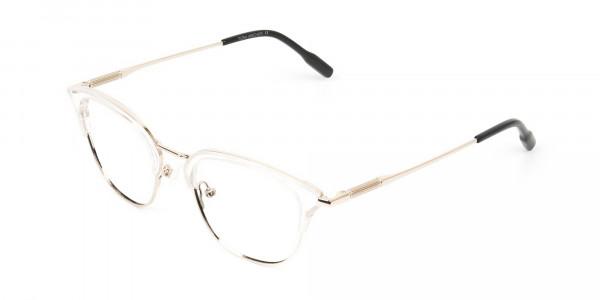 Wayfarer & Browline Crystal Clear & Champagne Gold Eyeglasses  - 3