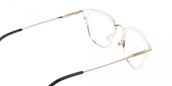 Wayfarer & Browline Crystal Clear & Champagne Gold Eyeglasses - 5