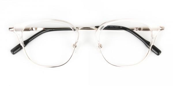 Wayfarer & Browline Crystal Clear & Champagne Gold Eyeglasses - 7
