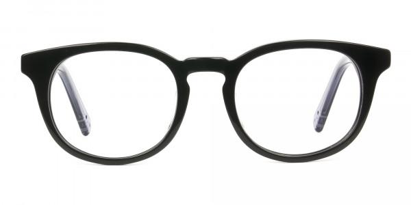 Wayfarer Round High-Grade Thick Black Translucent Blue Glasses - 1