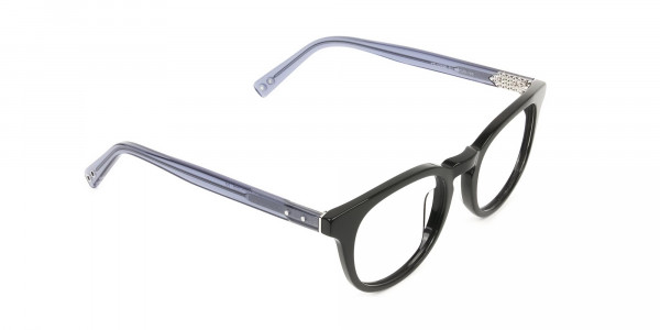 Wayfarer Round High-Grade Thick Black Translucent Blue Glasses - 2