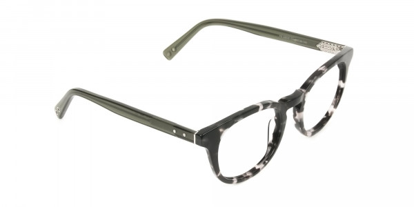 Marble Grey & Translucent Olive Green Round Glasses - 2