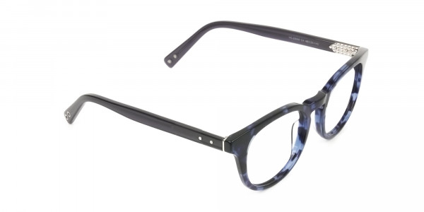Round Ocean Blue Tortoise Handmade Acetate glasses - 2