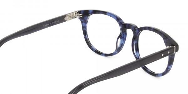 Round Ocean Blue Tortoise Handmade Acetate glasses - 5
