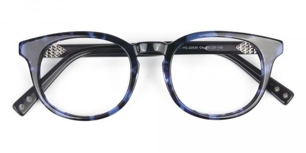 Round Ocean Blue Tortoise Handmade Acetate glasses - 6