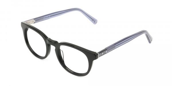 Wayfarer Round High-Grade Thick Black Translucent Blue Glasses - 3