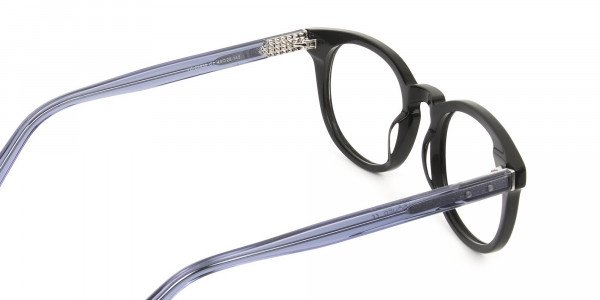 Wayfarer Round High-Grade Thick Black Translucent Blue Glasses - 5