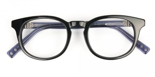 Wayfarer Round High-Grade Thick Black Translucent Blue Glasses - 6