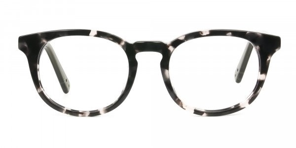 Marble Grey & Translucent Olive Green Round Glasses - 1