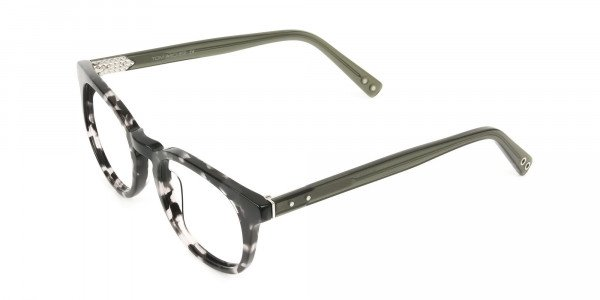 Marble Grey & Translucent Olive Green Round Glasses - 3