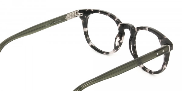 Marble Grey & Translucent Olive Green Round Glasses - 5