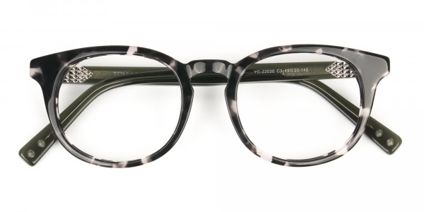 Marble Grey & Translucent Olive Green Round Glasses - 6