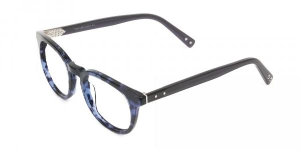 Round Ocean Blue Tortoise Handmade Acetate glasses - 3
