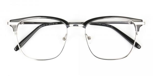 Wayfarer Black & Silver Clubmaster Frames - 6