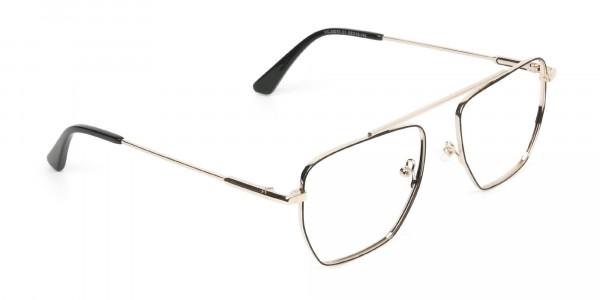 Black  and Gold Aviator  Wire Frame Glasses Men Women - 2