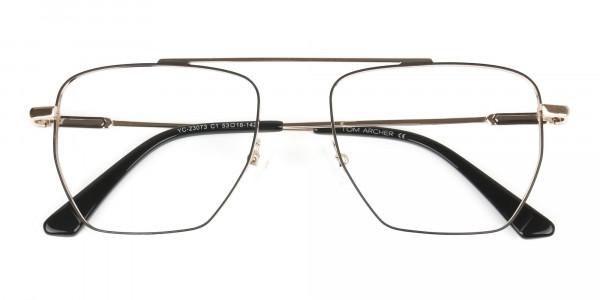 Black  and Gold Aviator  Wire Frame Glasses Men Women - 6