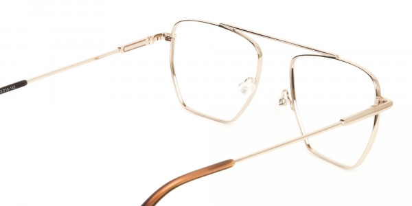 Lightweight Brown and Rose Gold Wire Frame Glasses Men Women - 5