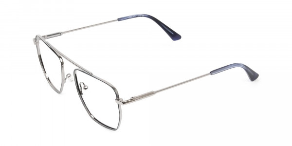 Silver and Royal Blue Wire Frame Glasses Men Women - 3
