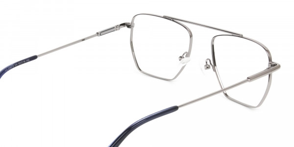 Silver and Royal Blue Wire Frame Glasses Men Women - 5