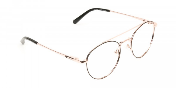 Black & Rose Gold Round Aviator Glasses - 2