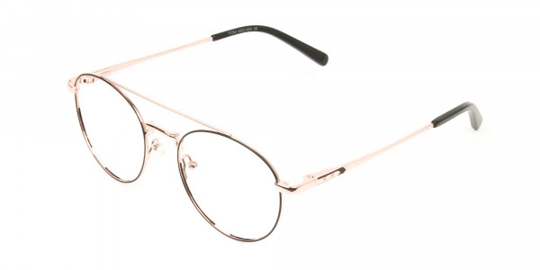 Black & Rose Gold Round Aviator Glasses - 3