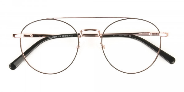 Black & Rose Gold Round Aviator Glasses - 6