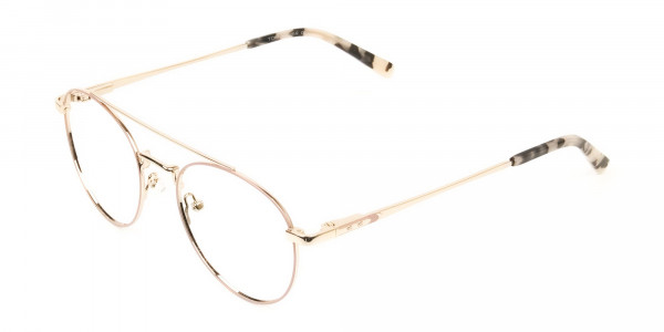 Lightweight Gold, Pink Round Aviator Glasses in Metal - 3