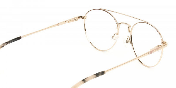 Lightweight Gold, Pink Round Aviator Glasses in Metal - 5