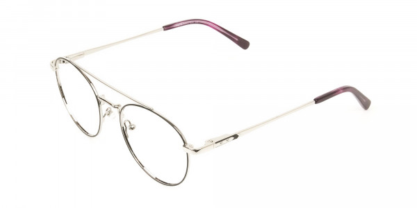 Lightweight Black & Silver Round Aviator Glasses in Metal - 3