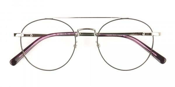 Lightweight Black & Silver Round Aviator Glasses in Metal - 6
