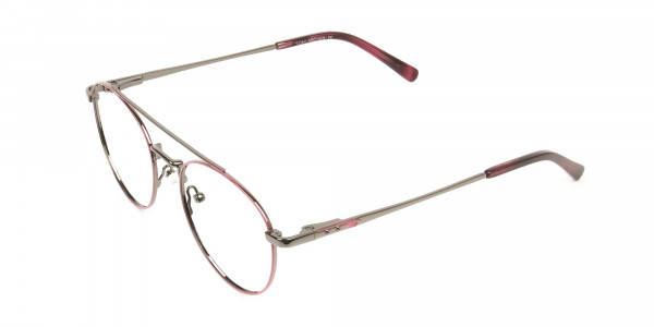 Lightweight Gunmetal & Red Round Aviator Glasses in Metal - 3