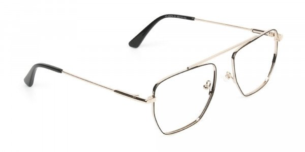 Black  and Gold Aviator  Wire Frame Glasses Men Women - 2