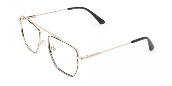 Black  and Gold Aviator  Wire Frame Glasses Men Women - 3