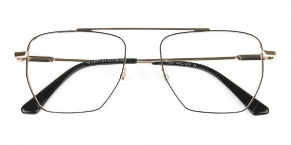 Black  and Gold Aviator  Wire Frame Glasses Men Women - 6