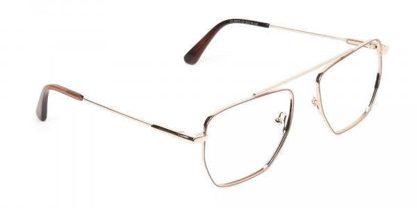 Lightweight Brown and Rose Gold Wire Frame Glasses Men Women - 2