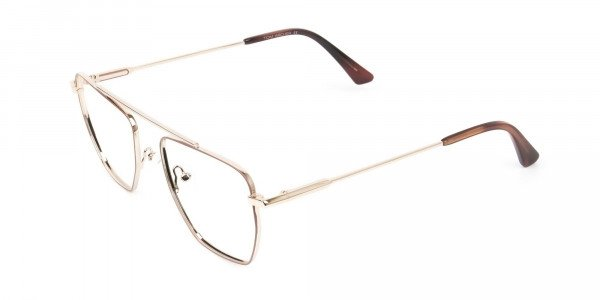 Lightweight Brown and Rose Gold Wire Frame Glasses Men Women - 3