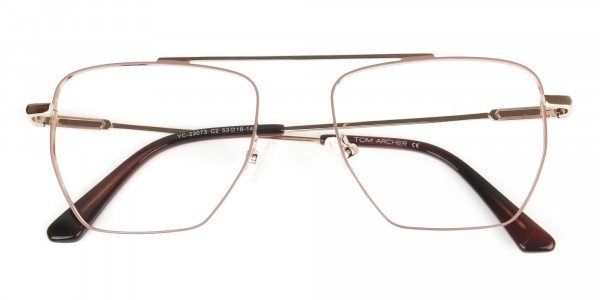 Lightweight Brown and Rose Gold Wire Frame Glasses Men Women - 6