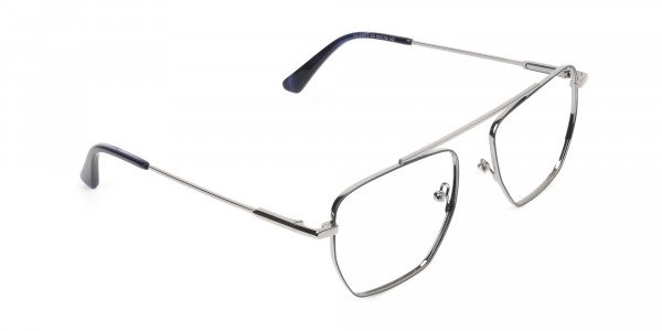 Silver and Royal Blue Wire Frame Glasses Men Women - 2