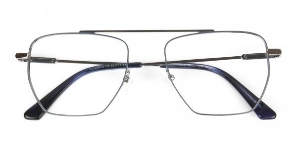 Silver and Royal Blue Wire Frame Glasses Men Women - 6