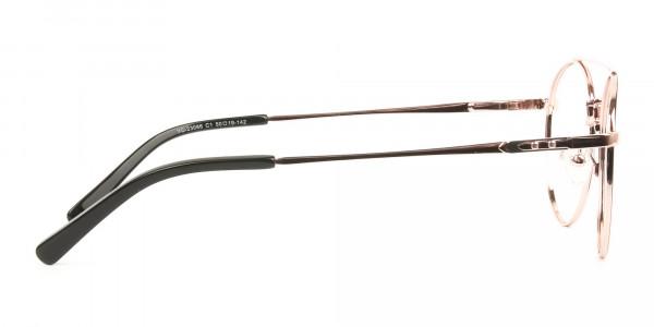 Black & Rose Gold Round Aviator Glasses - 4