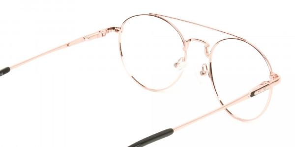 Black & Rose Gold Round Aviator Glasses - 5