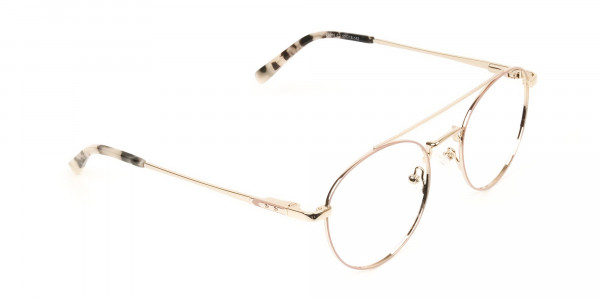 Lightweight Gold, Pink Round Aviator Glasses in Metal - 2