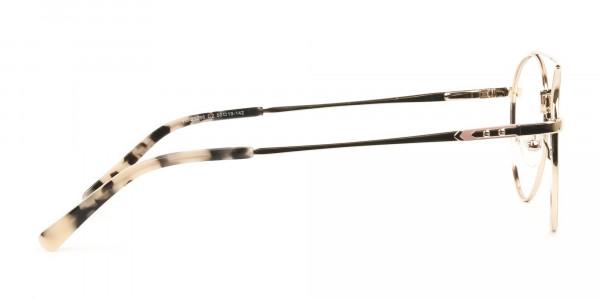 Lightweight Gold, Pink Round Aviator Glasses in Metal - 4