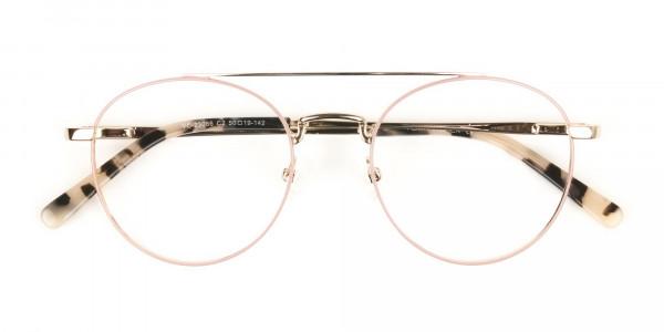 Lightweight Gold, Pink Round Aviator Glasses in Metal - 6