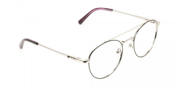 Lightweight Black & Silver Round Aviator Glasses in Metal - 2