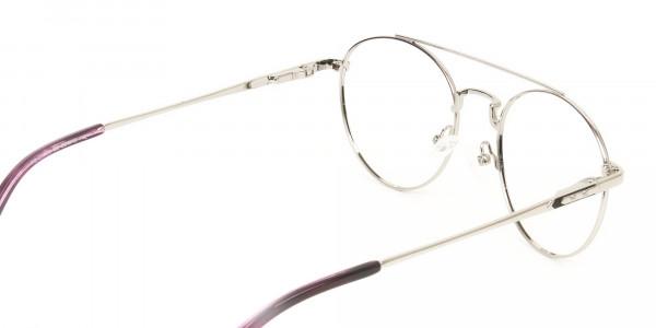 Lightweight Black & Silver Round Aviator Glasses in Metal - 5