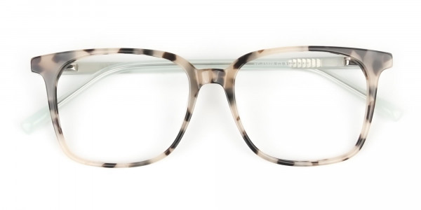 Crystal Teal Green Creamy Tortoise Glasses - 6